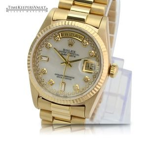 Rolex Day-date 18038 White MOP Diamond Dial 36mm